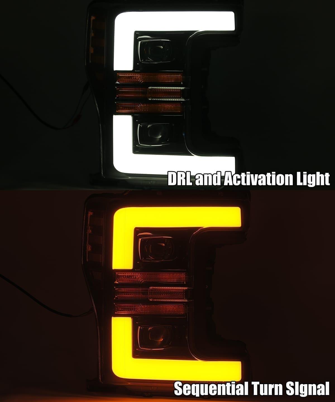 DRL and turn signal 2017 2018 2019 Ford Super Duty F250 F350 F450 F550 PRO-Series Projector Headlights
