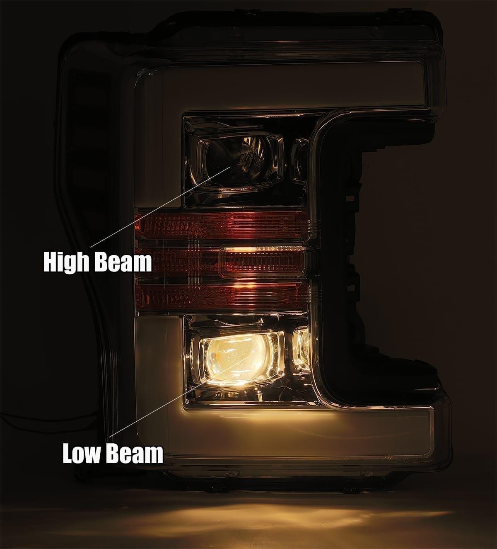 Low Beam 2017 2018 2019 Ford Super Duty F250 F350 F450 F550 PRO-Series Projector Headlights