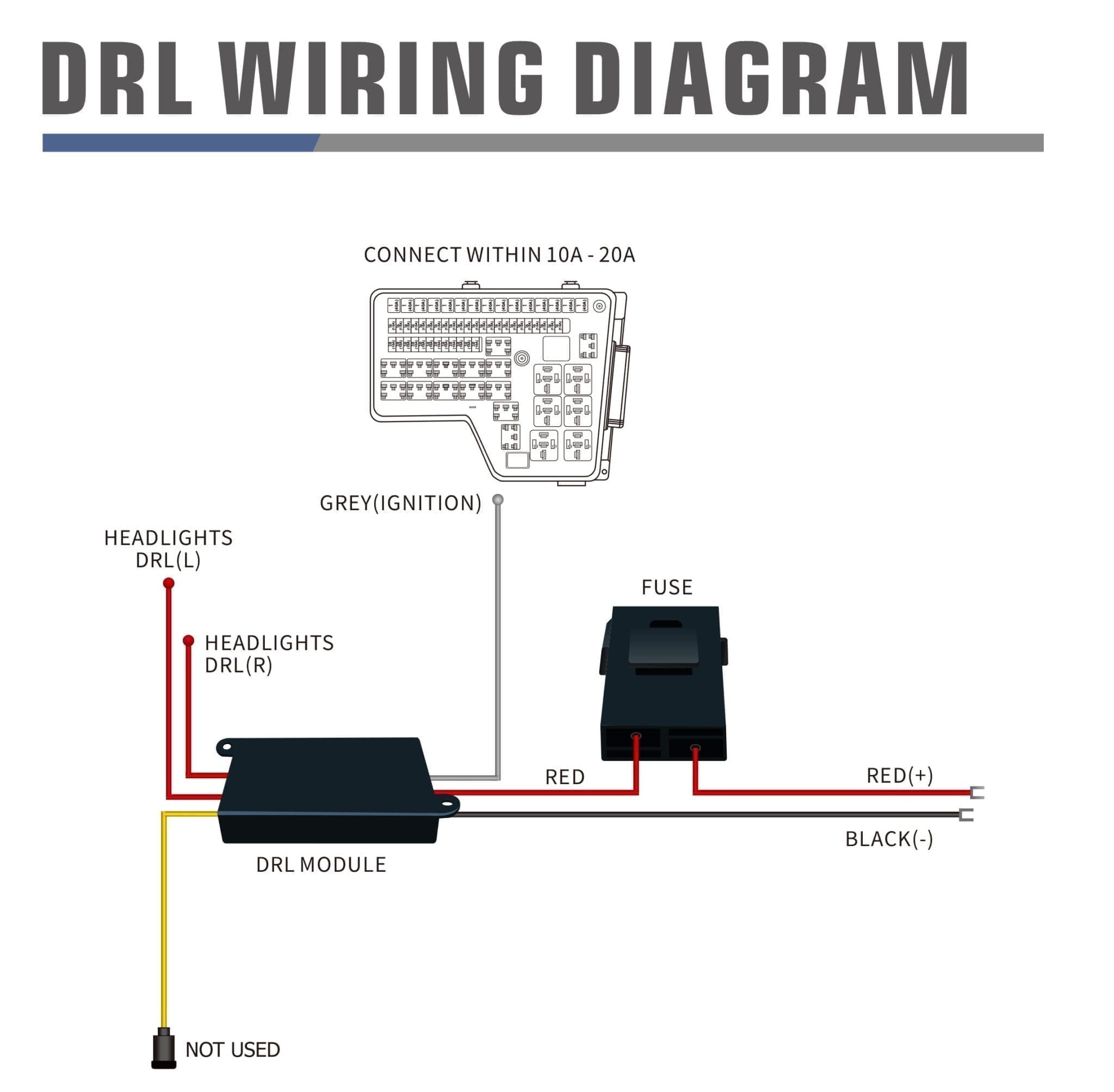 Wiring diagram for DRL harness with Activation light and sequential signal