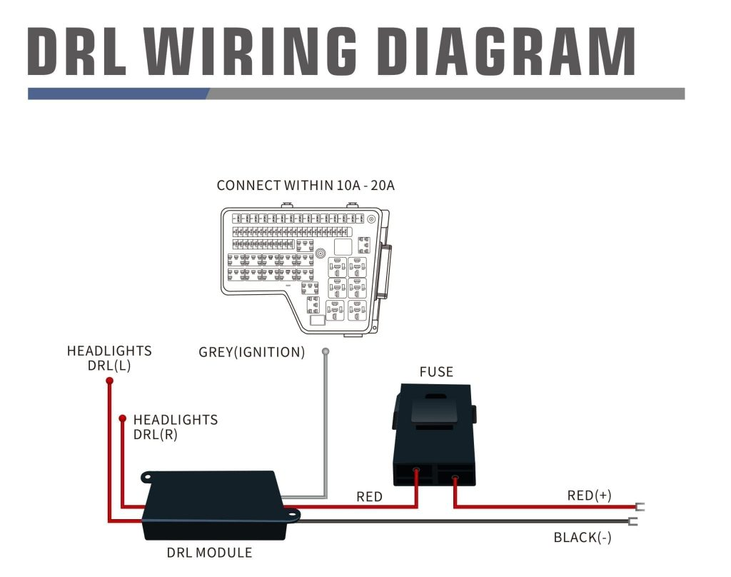 Wiring diagram for DRL harness without Activation light and sequential signal