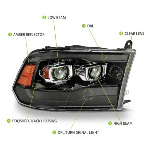 2009 2010 2011 2012 2013 2014 2015 2016 2017 2018 Ram Truck 1500/2500/3500 PRO-Series G2 Projector Headlights