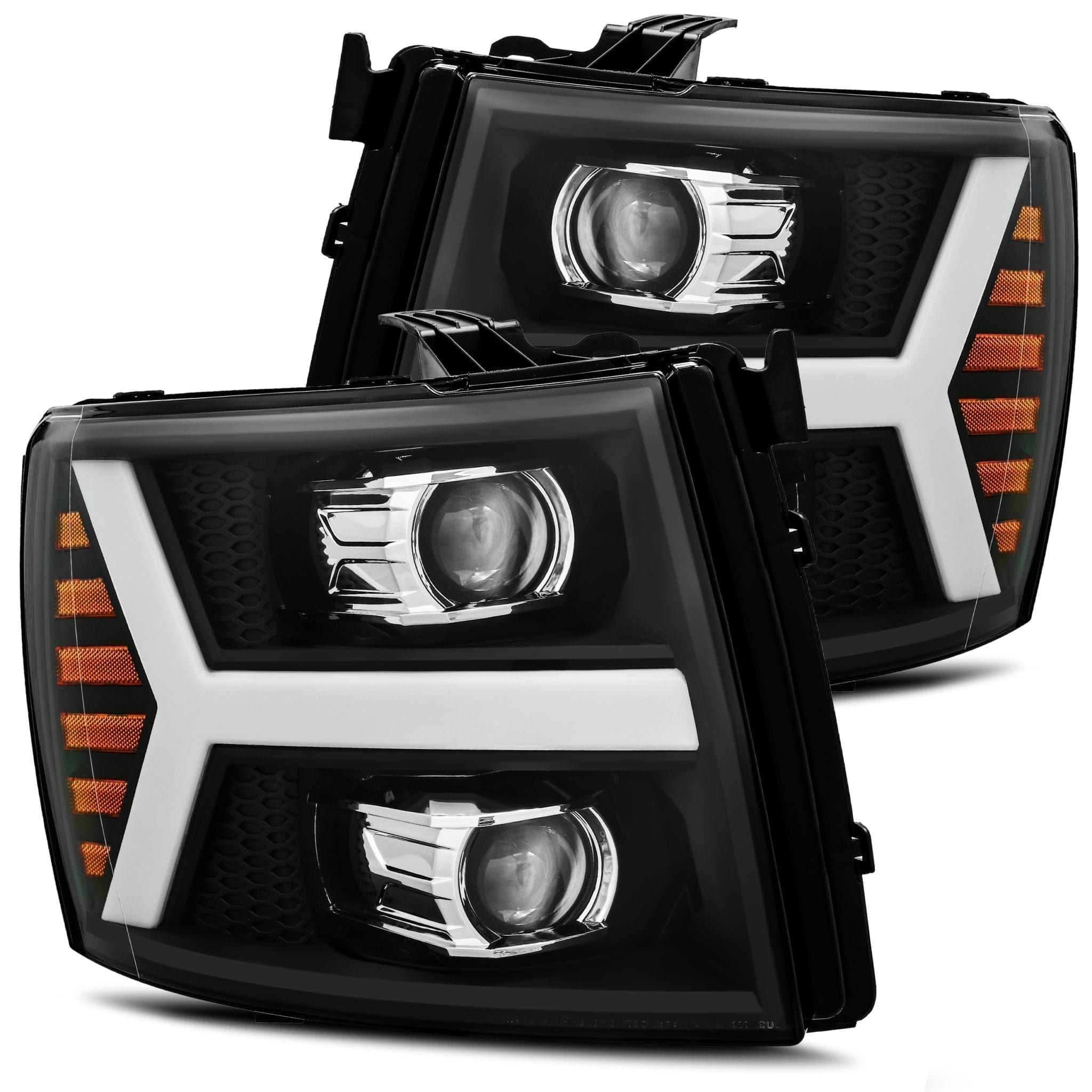 AlphaRex 2007 2008 2009 2010 2011 2012 2013 Chevrolet Silverado 1500/2500HD/3500HD PRO-Series Projector Headlights Black