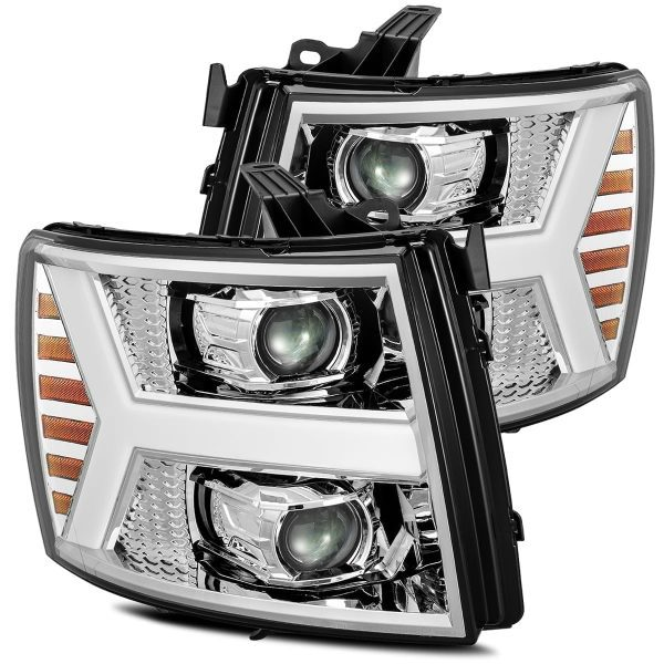 AlphaRex 2007 2008 2009 2010 2011 2012 2013 Chevrolet Silverado 1500/2500HD/3500HD PRO-Series Projector Headlights Chrome