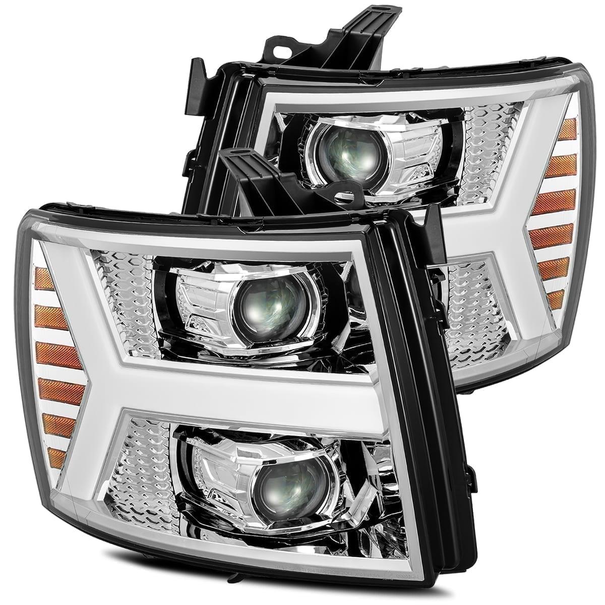 AlphaRex 2007 2008 2009 2010 2011 2012 2013 Chevrolet Silverado 1500/2500HD/3500HD PRO-Series Projector Headlights Chrome