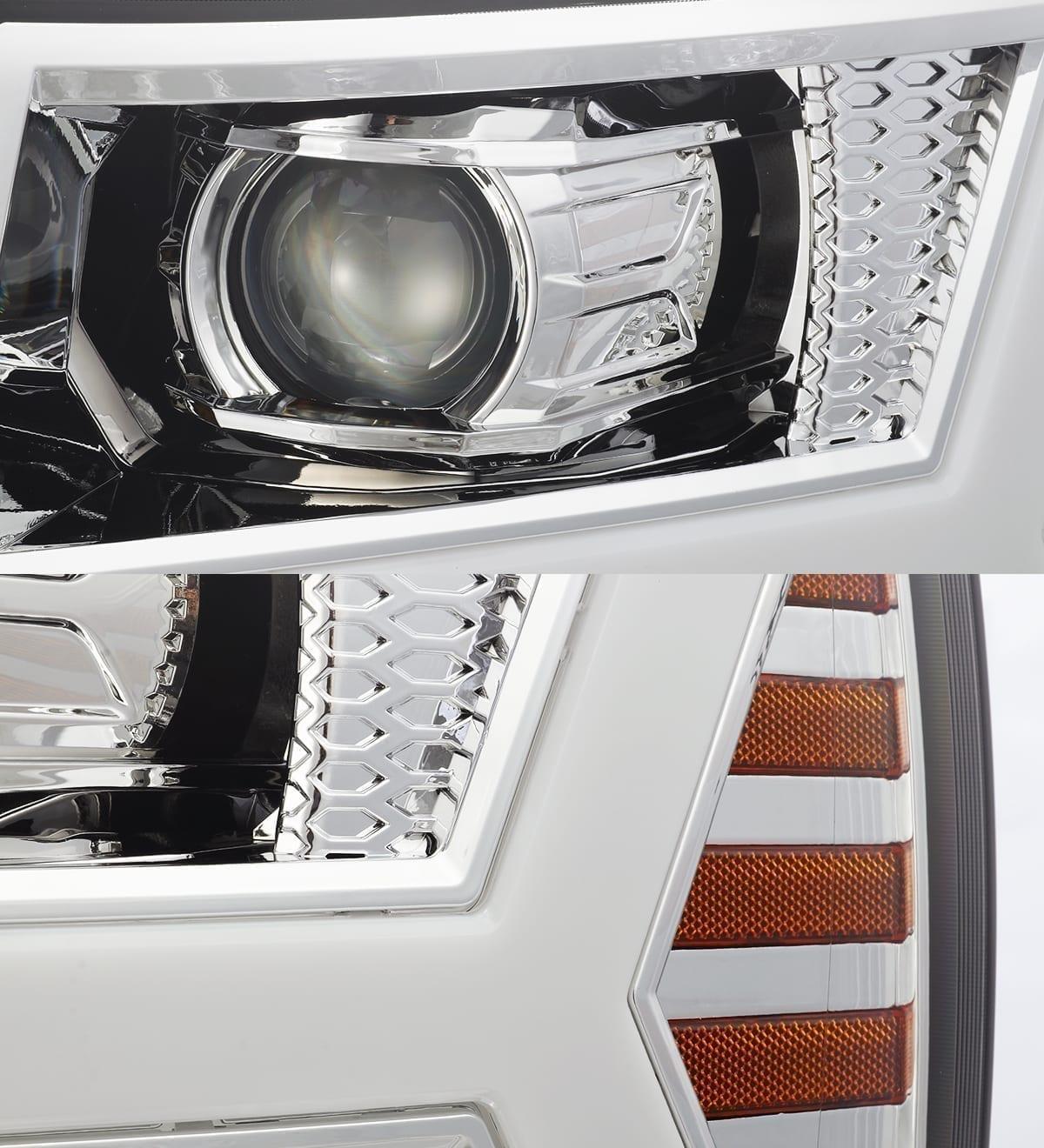 Chrome 2007 2008 2009 2010 2011 2012 2013 Chevrolet Silverado PRO-Series Projector Headlights