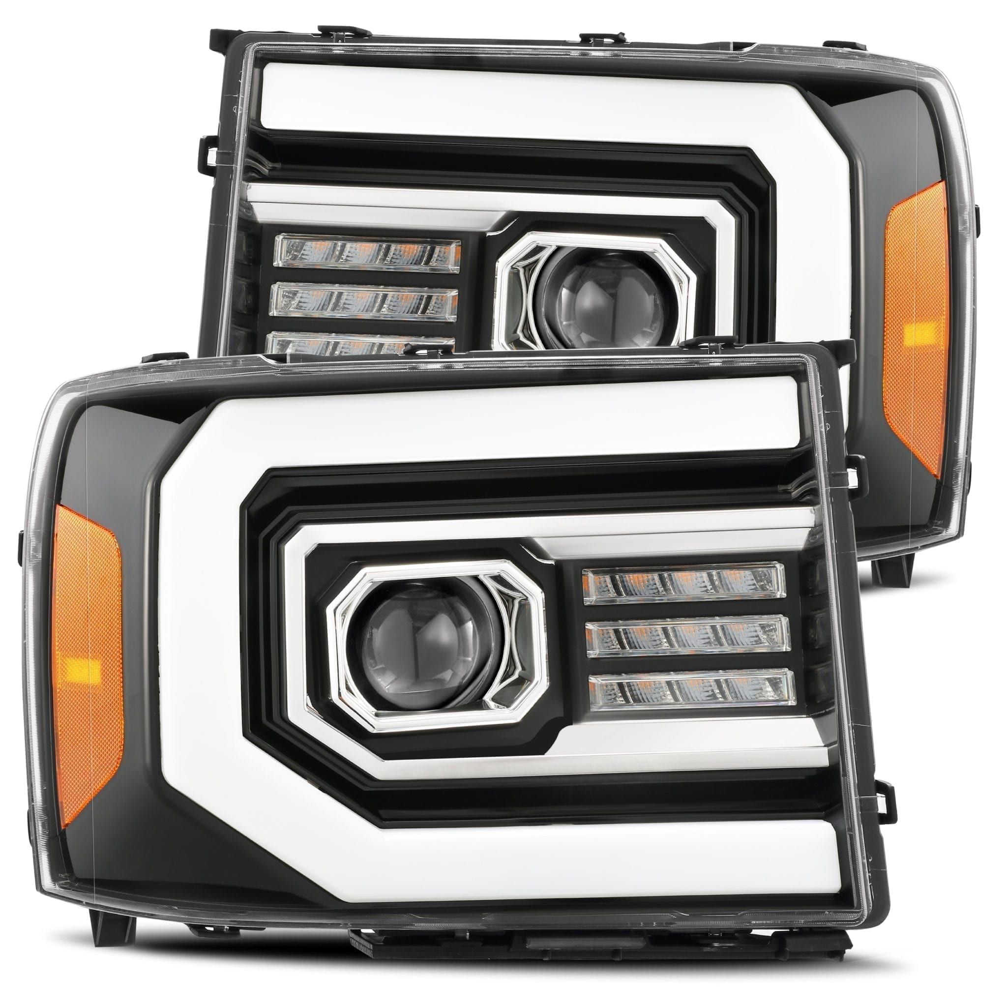 AlphaRex GMC Sierra 2007 2008 2009 2010 2011 2012 2013 PRO-Series Projector Headlights Jet Black