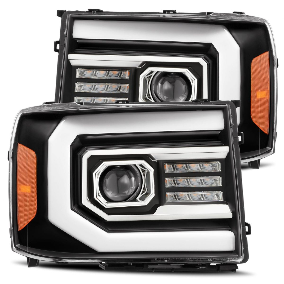 AlphaRex GMC Sierra 2007 2008 2009 2010 2011 2012 2013 PRO-Series Projector Headlights Black