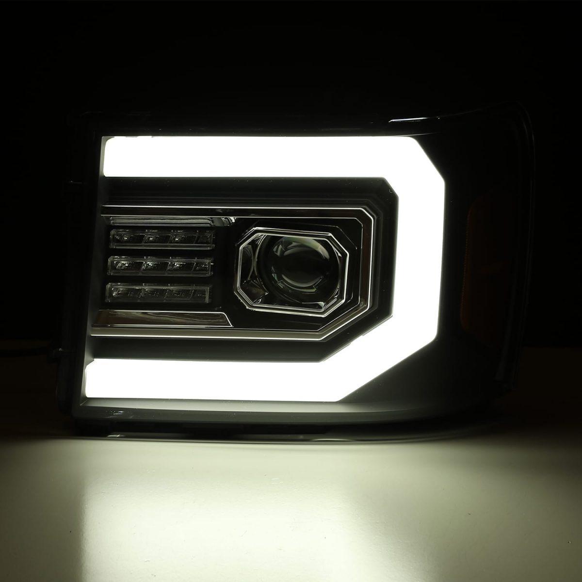 DRL light tube 2007 2008 2009 2010 2011 2012 2013 GMC Sierra PRO-Series Projector Headlights