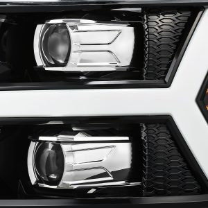 AlphaRex 2007 2008 2009 2010 2011 2012 2013 Chevrolet Silverado 1500/2500HD/3500HD PRO-Series Projector Headlights Jet Black