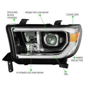 AlphaRex 2007 2008 2009 2010 2011 2012 2013 Toyota Tundra Toyota Sequoia PRO-Series Projector Headlights Jet Black