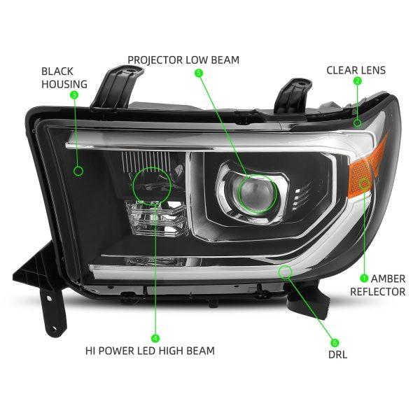 AlphaRex 2007 2008 2009 2010 2011 2012 2013 Toyota Tundra Toyota Sequoia PRO-Series Projector Headlights Black