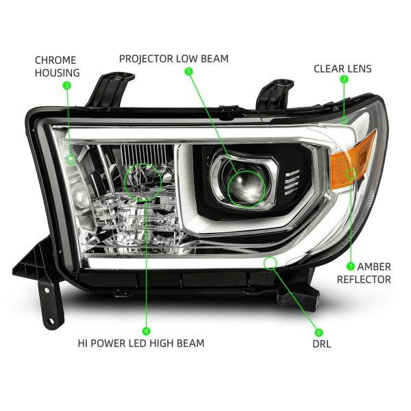 AlphaRex 2007 2008 2009 2010 2011 2012 2013 Toyota Tundra Toyota Sequoia PRO-Series Projector Headlights Chrome