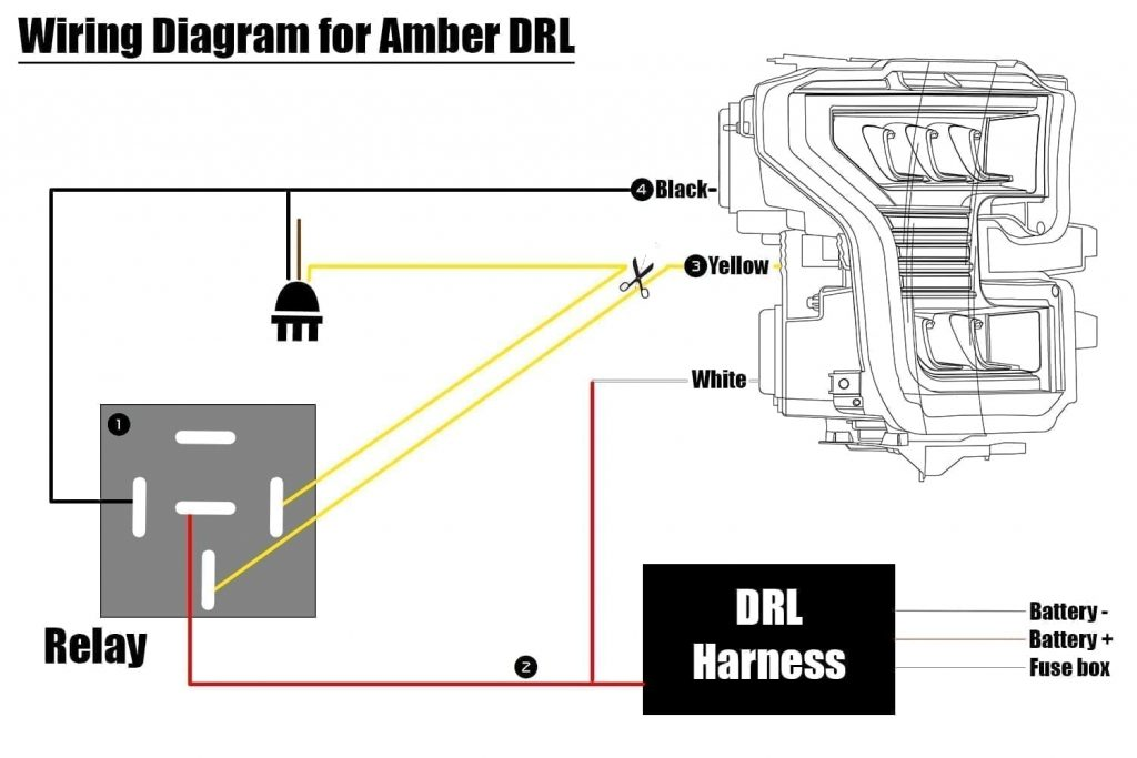 2015 2016 2017 2018 2019 Ford F150 PRO-Series and NOVA-Series Headlights Amber DRL Wiring DIagram
