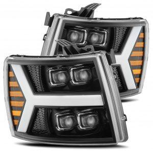 AlphaRex 2007 2008 2009 2010 2011 2012 2013 Chevrolet Silverado NOVA-Series Full LED Projector Headlights Jet Black
