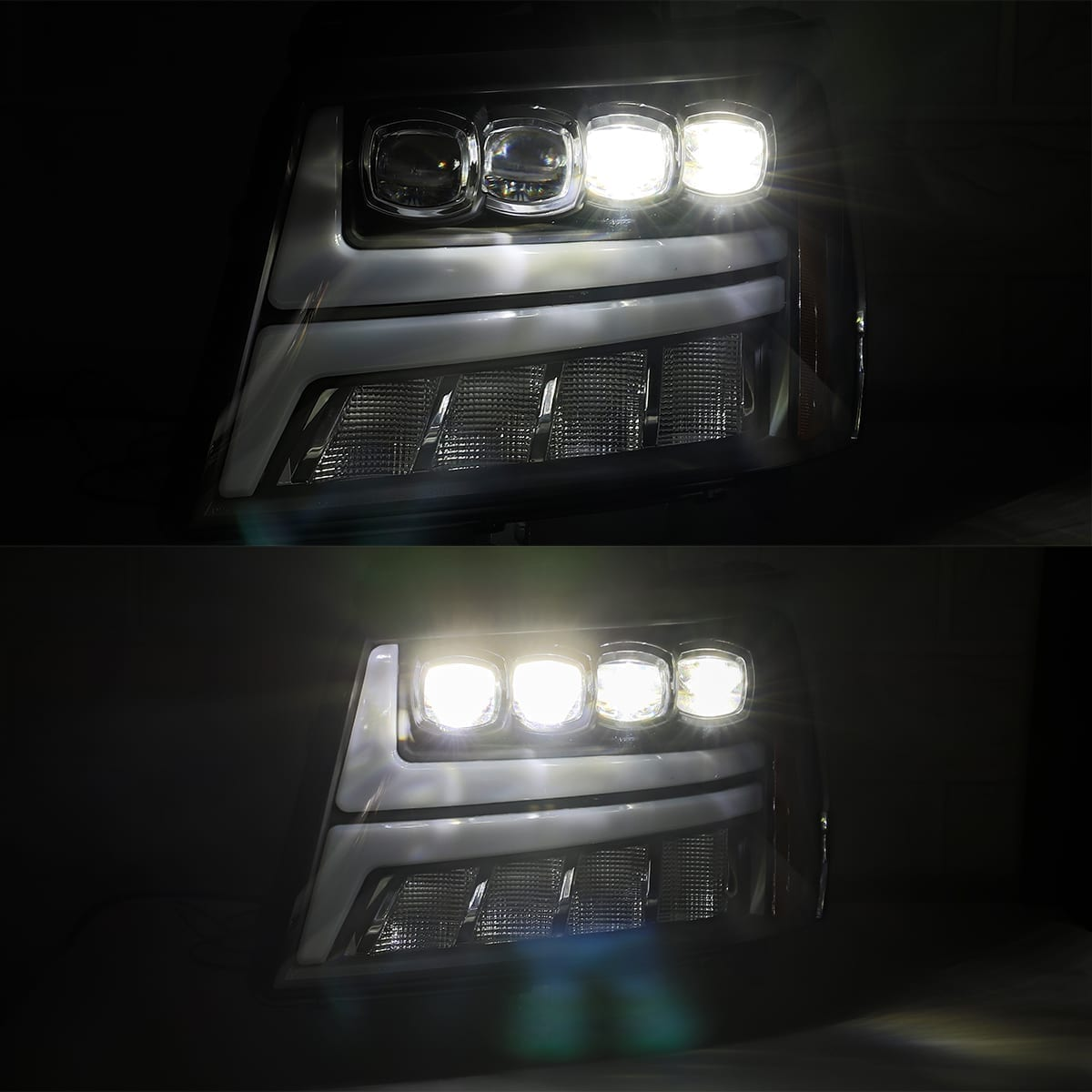 2007 2008 2009 2010 2011 2012 2013 Chevy Tahoe Suburban Avalanche NOVA-Series Full LED Projector Headlights Low Beam and High Beam