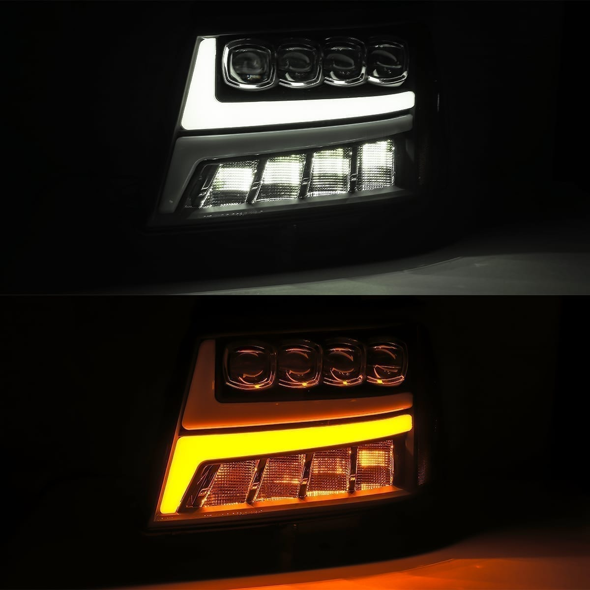 2007 2008 2009 2010 2011 2012 2013 Chevy Tahoe Suburban Avalanche NOVA-Series Full LED Projector Headlights DRL and Signal