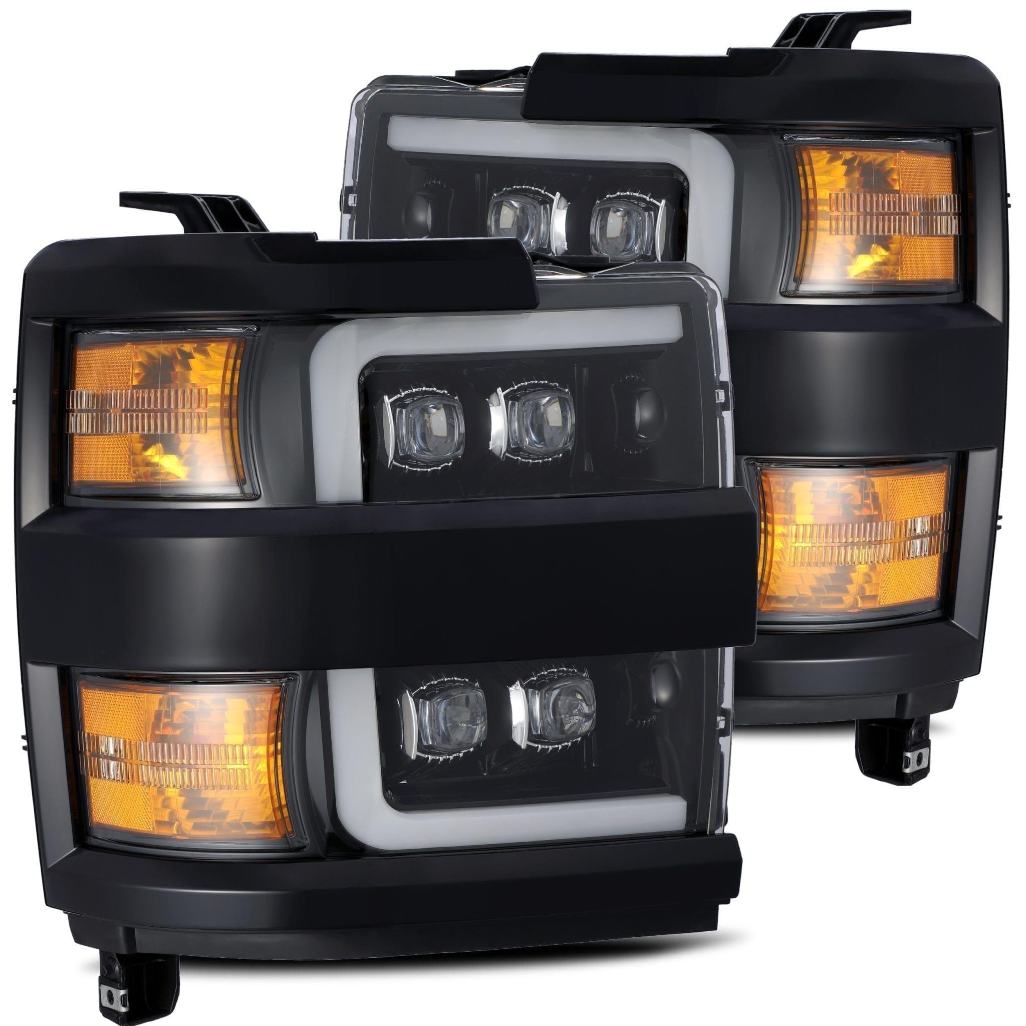 2015 2016 2017 2018 2019 Chevrolet Silverado 2500HD 3500HD NOVA-Series Full LED Projector Headlights Jet Black