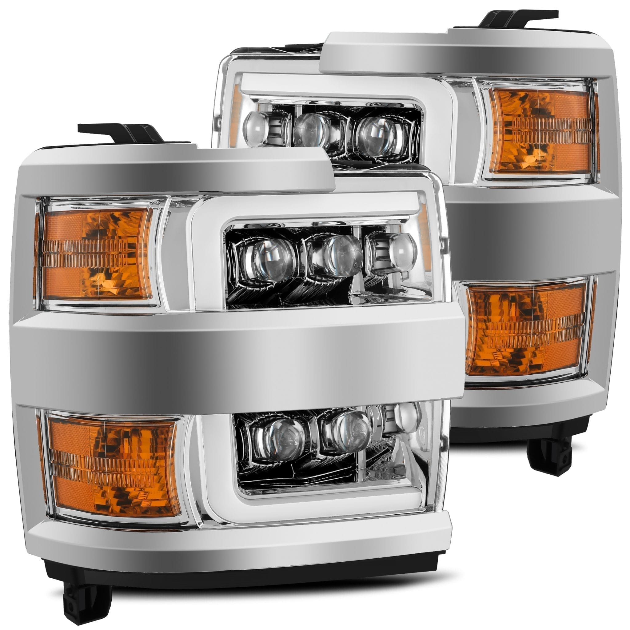 2015 2016 2017 2018 2019 Chevrolet Silverado 2500HD 3500HD NOVA-Series Full LED Projector Headlights Chrome