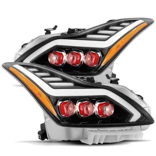 2008 2009 2010 2011 2012 2013 2014 2015 Infiniti G37 Q60 Red NOVA Full LED Projector Headlights Jet Black