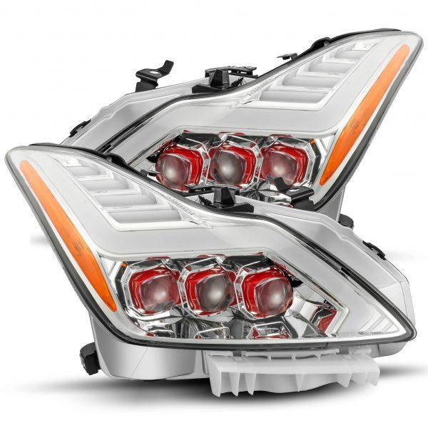 2008 2009 2010 2011 2012 2013 2014 2015 Infiniti G37 Q60 Red NOVA Full LED Projector Headlights Chrome