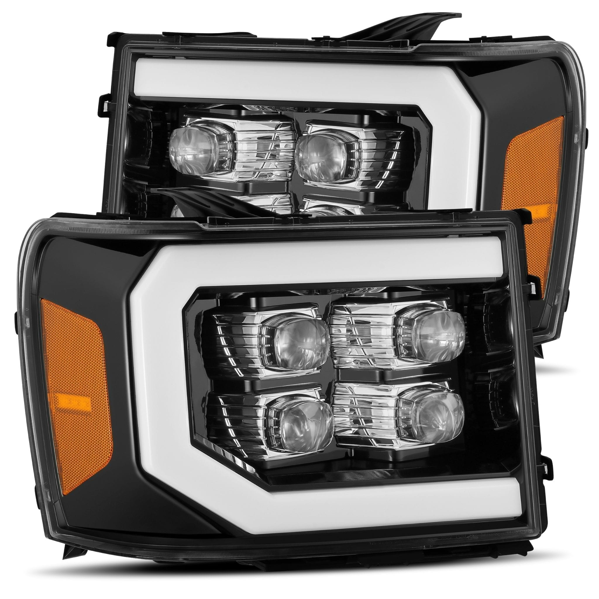 2007 2008 2009 2010 2011 2012 2013 GMC Sierra NOVA-Series Full LED Projector Headlights Jet Black