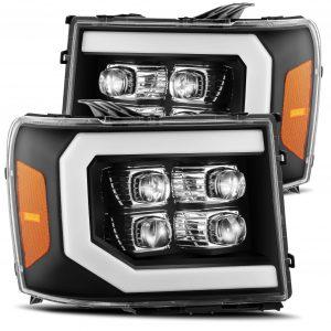 2007 2008 2009 2010 2011 2012 2013 GMC Sierra NOVA-Series Full LED Projector Headlights Black