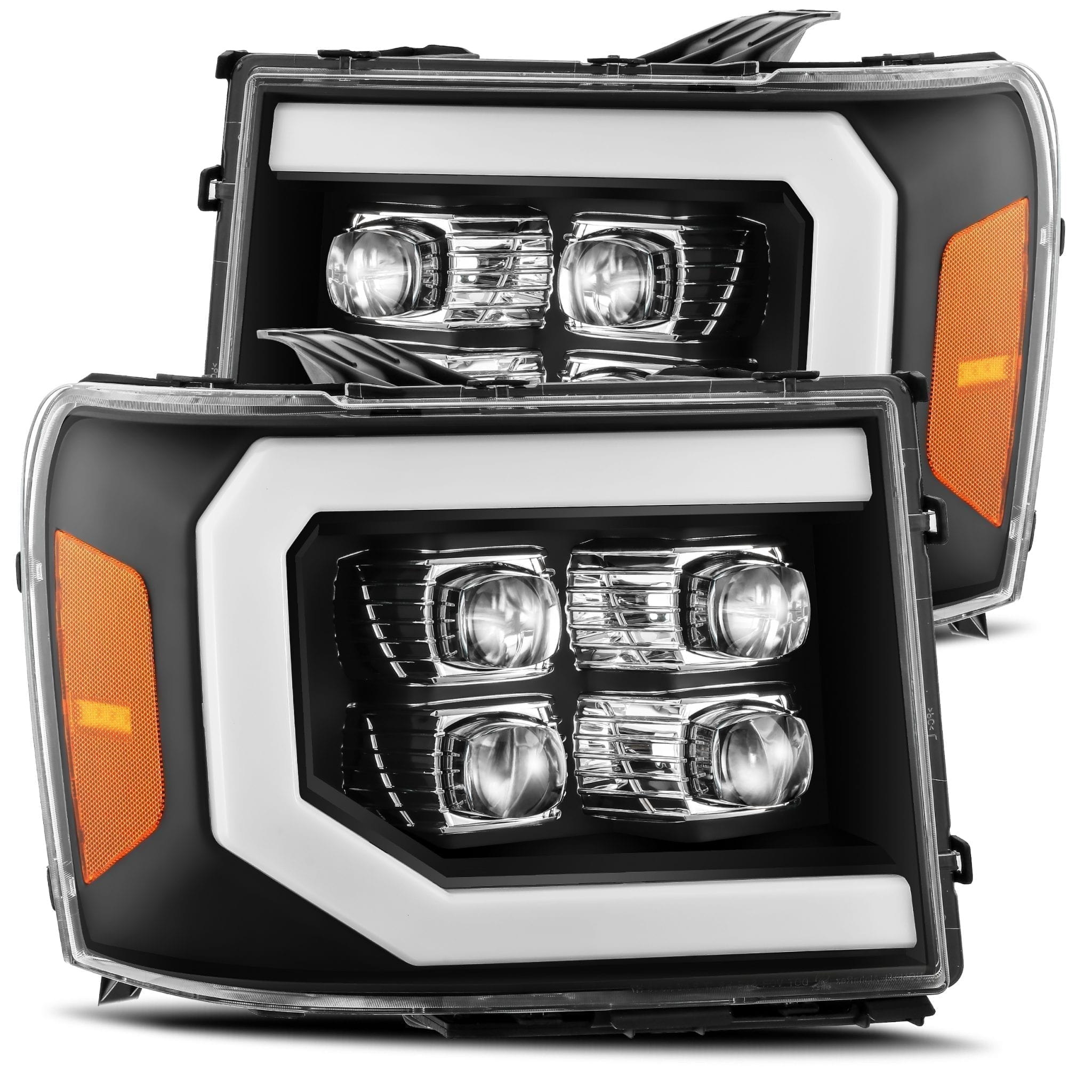 2007 2008 2009 2010 2011 2012 2013 GMC Sierra NOVA-Series Full LED Projector Headlights Black