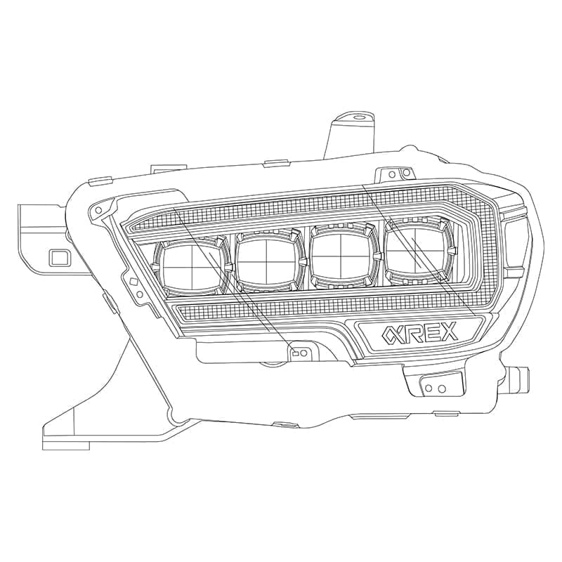 2016 2017 2018 2019 2020 Toyota Tacoma NOVA-Series Full LED Projector Headlights Design
