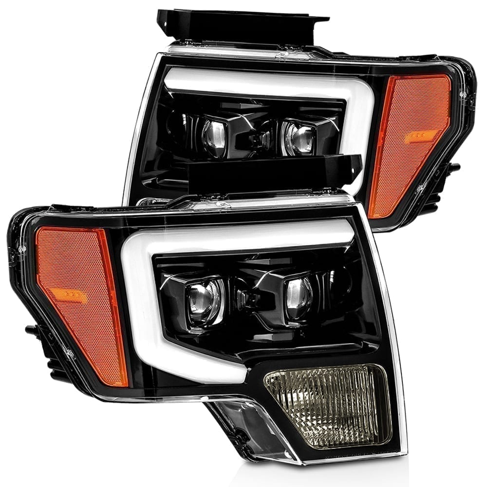 2009 2010 2011 2012 2013 2014 Ford F150 PRO-Series Projector Headlights Jet Black