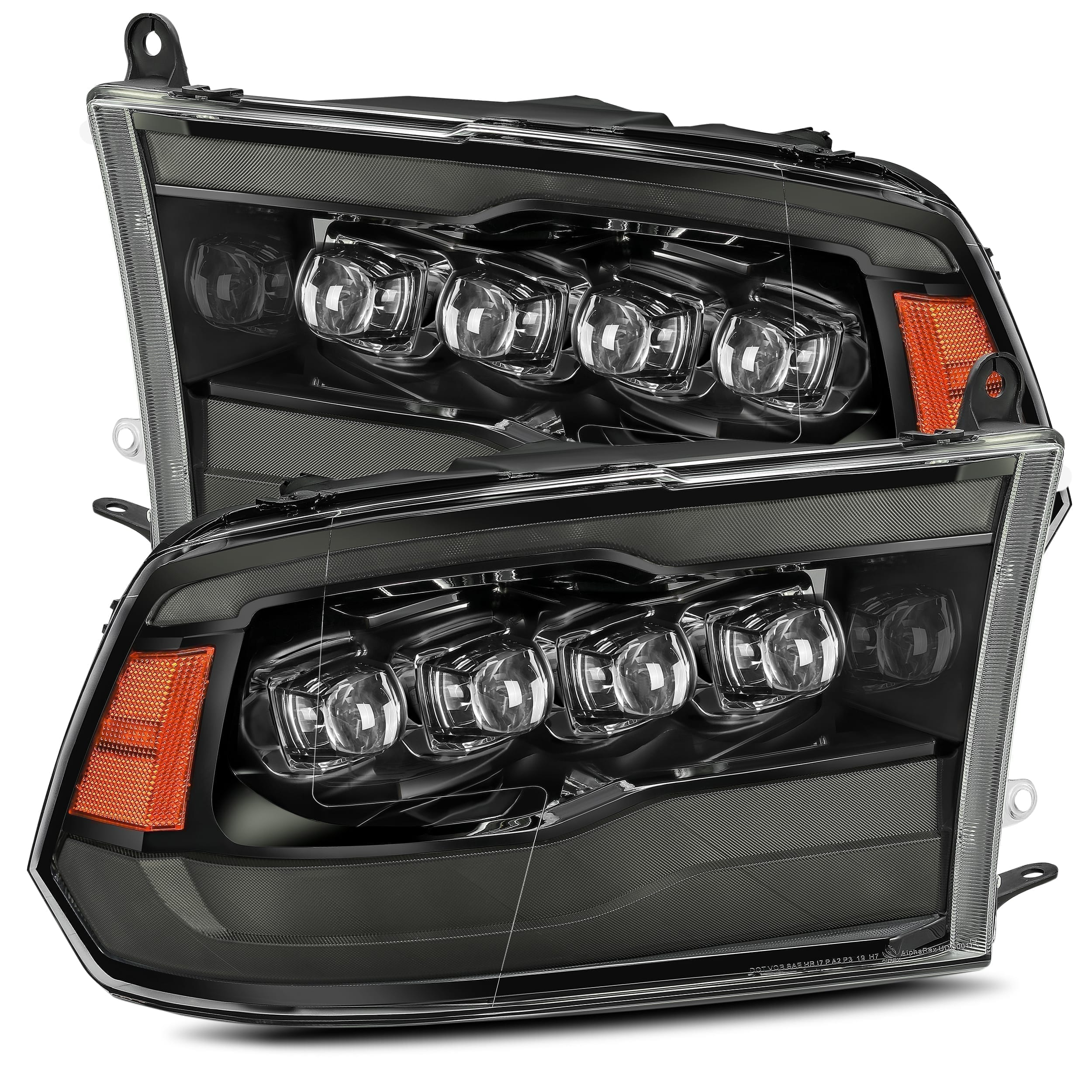 2009 2010 2011 2012 2013 2014 2015 2016 2017 2018 Dodge Ram 1500/2500/3500 NOVA-Series Full LED Projector Headlights Midnight Black