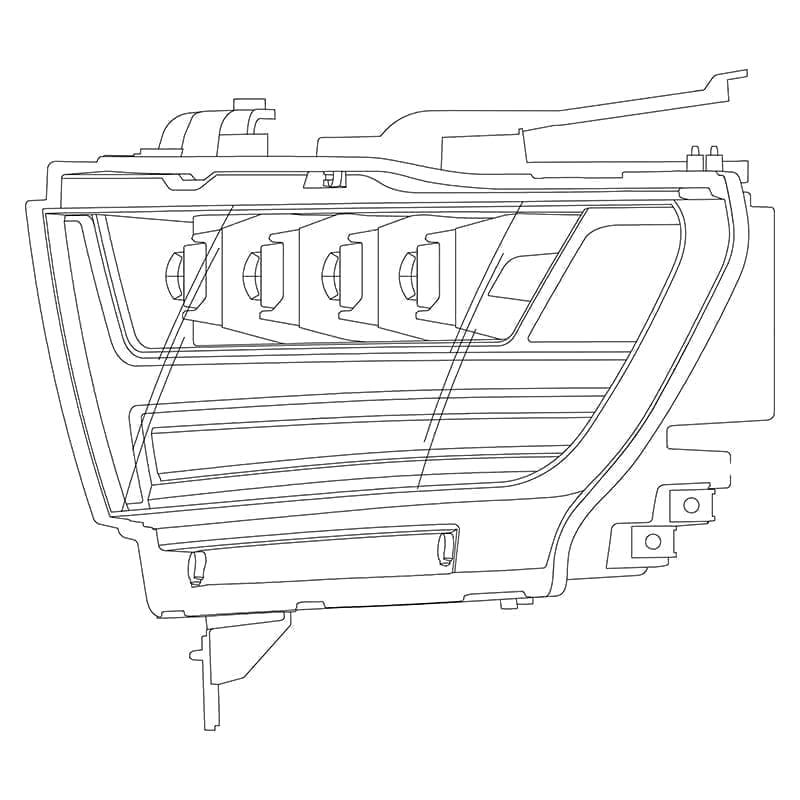 2019 2020 Ram 1500 NOVA Series LED Projector Headlights Design