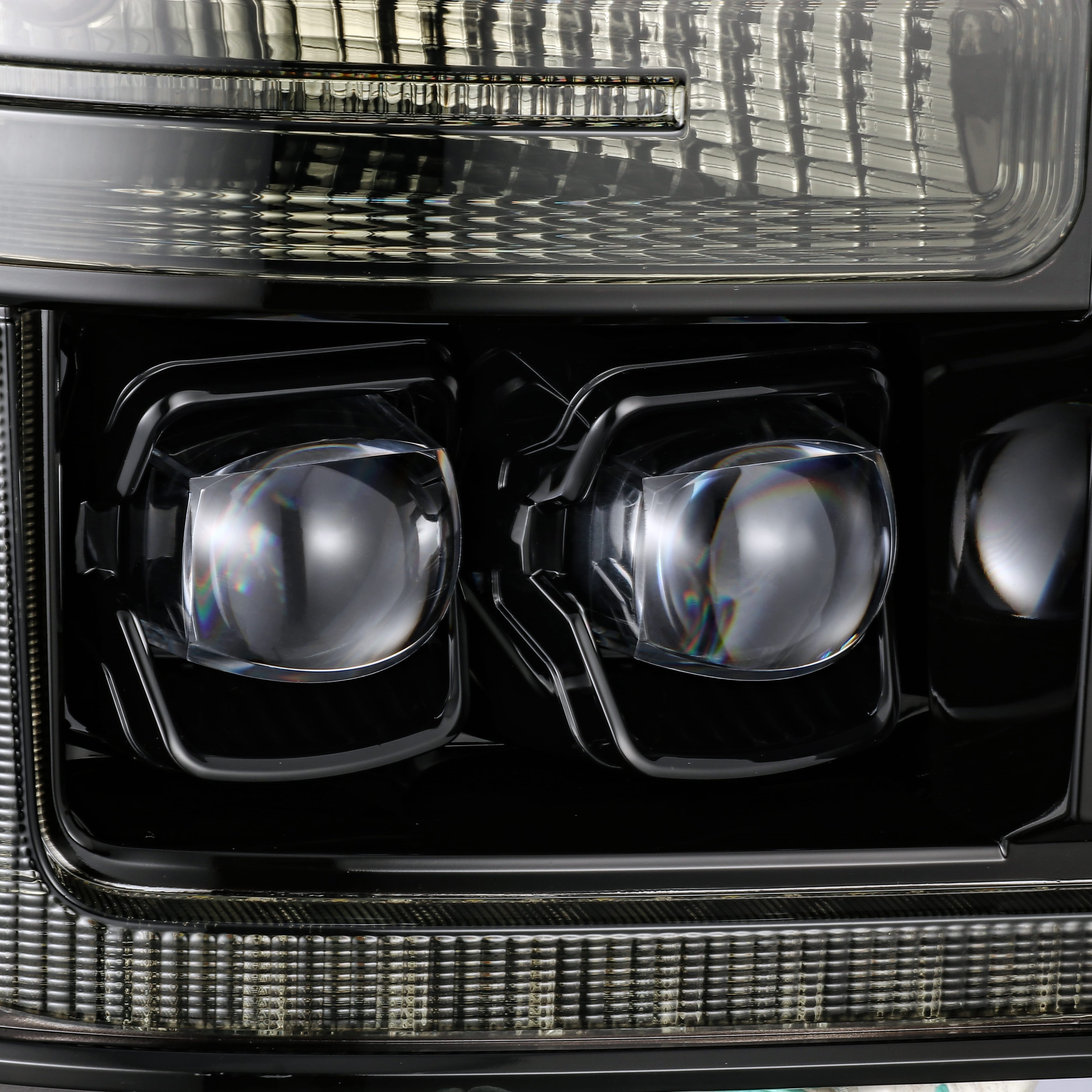 2011 2012 2013 2014 2015 2016 Ford F250 F350 F450 F550 Super Duty NOVA-Series Full LED Projector Headlights Alpha-Black