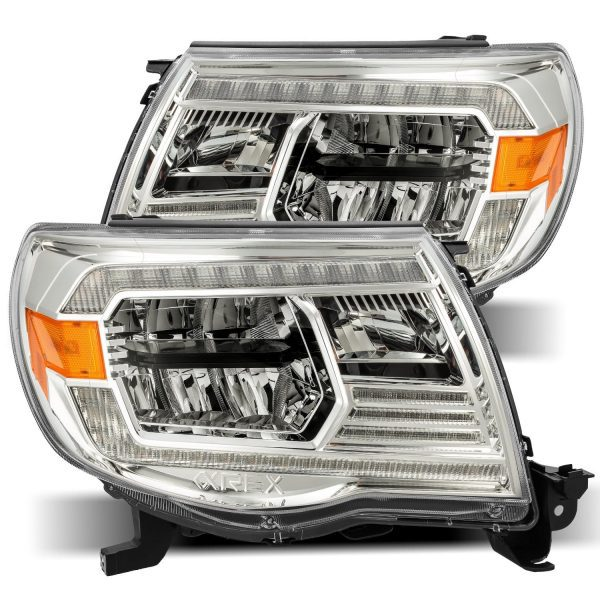 2005 2006 2007 2008 2009 2011 Toyota Tacoma LUXX-Series LED Crystal Headlights Chrome
