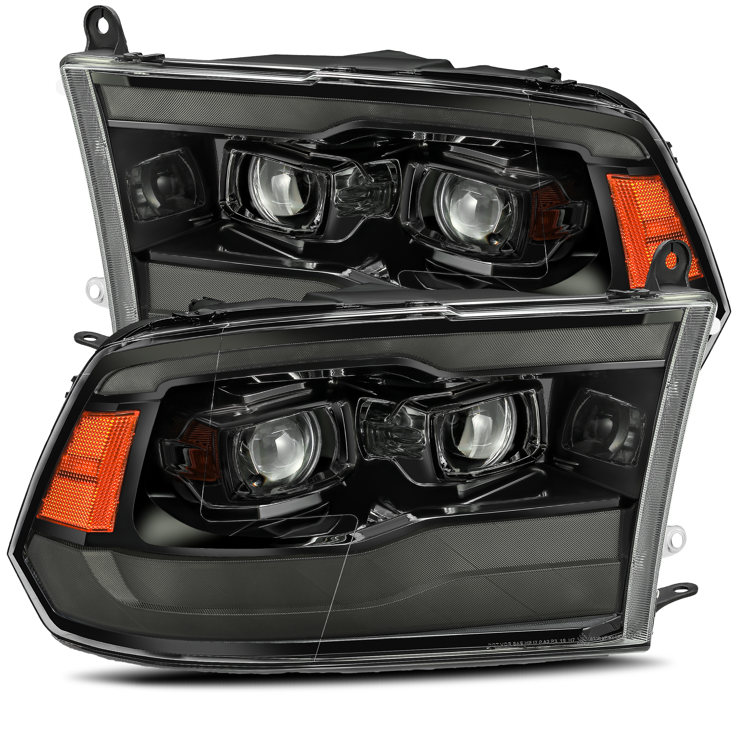 2009 2010 2011 2012 2013 2014 2015 2016 2017 2018 Ram Truck 1500 2500 3500 LUXX-Series Full LED Projector Headlights Alpha-Black