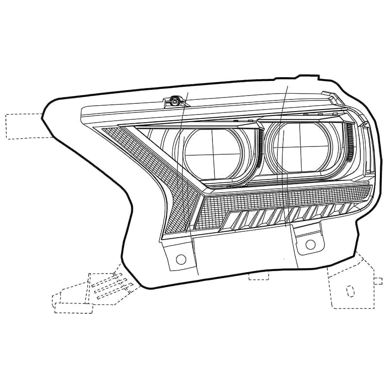 2016 2017 2018 2019 2020 Ford Ranger PRO-Series/LUXX-Series Projector Headlights Design